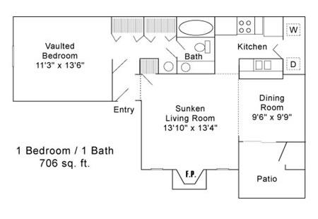 706 sq. ft. A floor plan