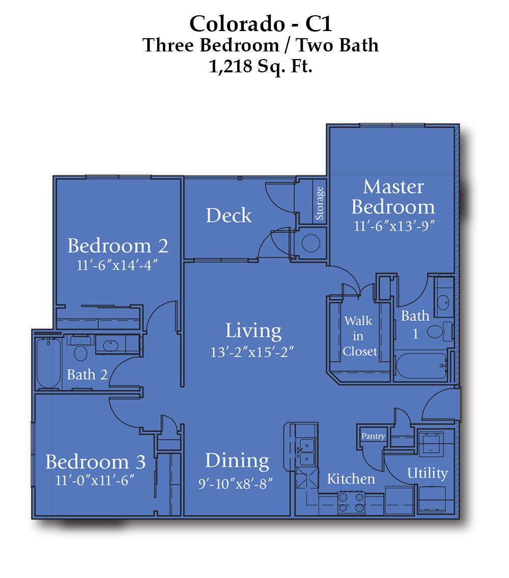 1,218 sq. ft. Colorado floor plan