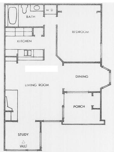 814 sq. ft. L floor plan