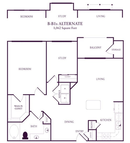 1,062 sq. ft. B-B1S floor plan