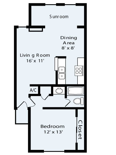 742 sq. ft. Sunbay floor plan