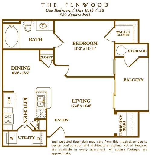 650 sq. ft. Fenwood floor plan