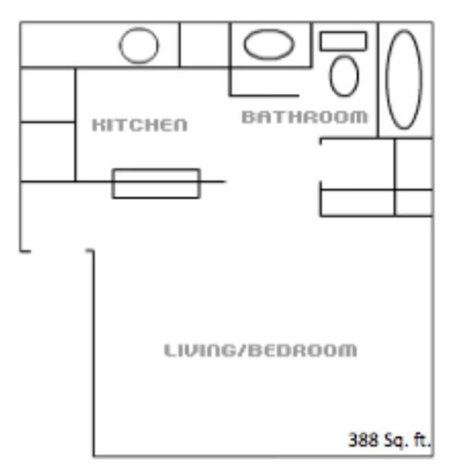 388 sq. ft. floor plan