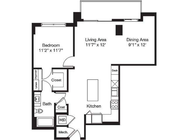 917 sq. ft. TF floor plan