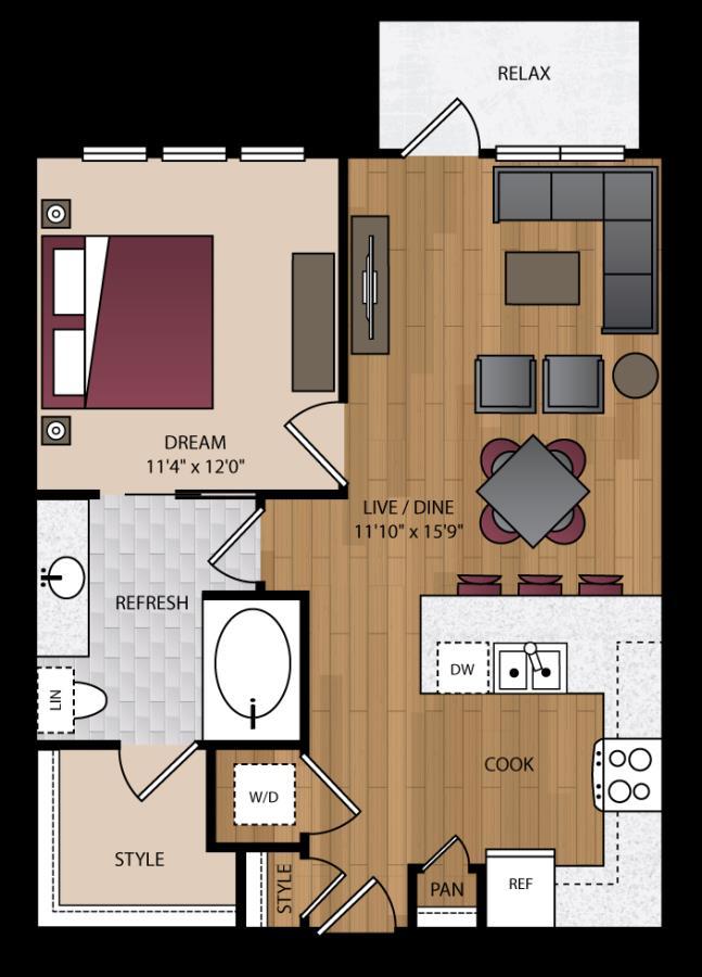 736 sq. ft. A1.7 floor plan
