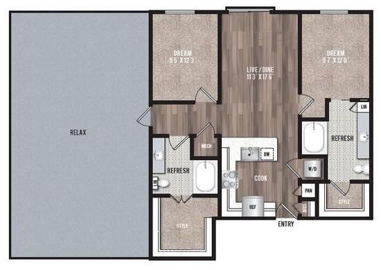 1,006 sq. ft. B1.3 floor plan