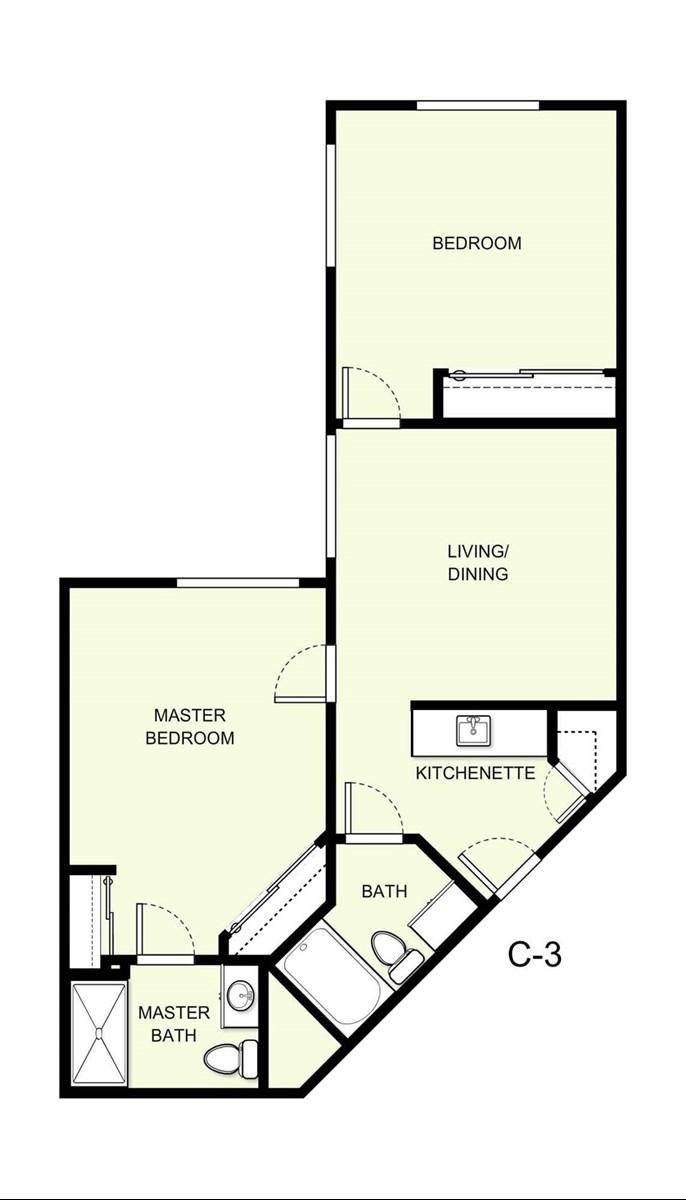 877 sq. ft. C3 floor plan