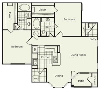 1,160 sq. ft. D floor plan