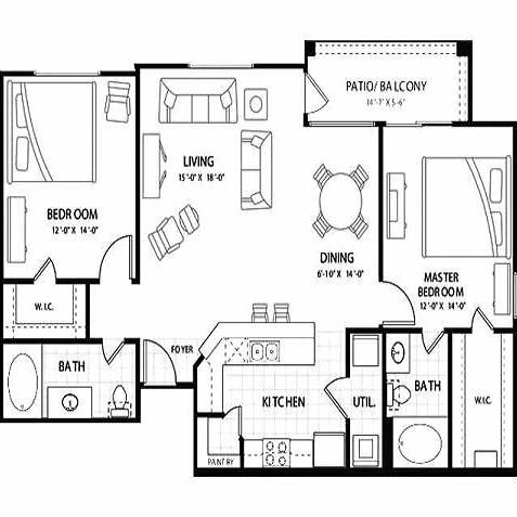 1,170 sq. ft. Pandora floor plan