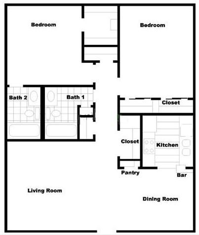 990 sq. ft. B4 floor plan