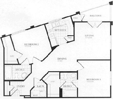 1,005 sq. ft. to 1,009 sq. ft. floor plan