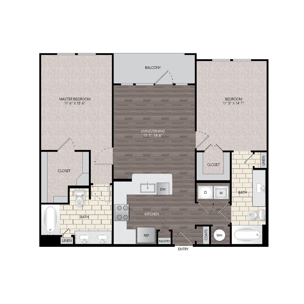 1,137 sq. ft. B1 floor plan