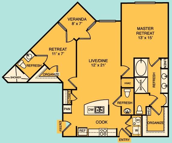 1,205 sq. ft. B1 floor plan