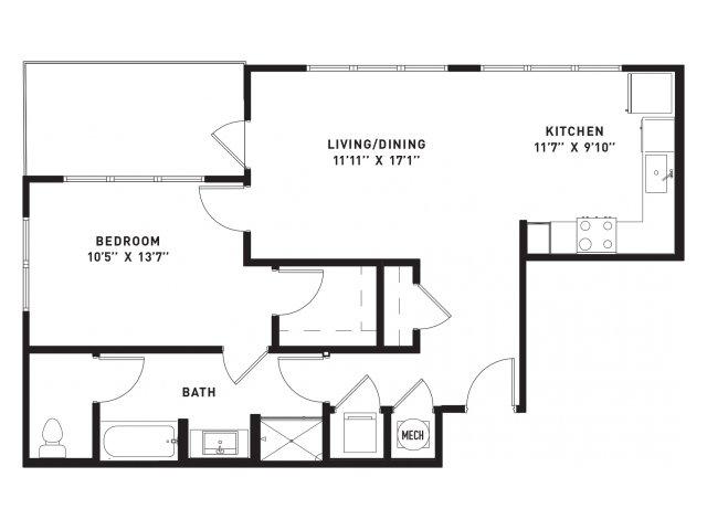 811 sq. ft. A13 floor plan