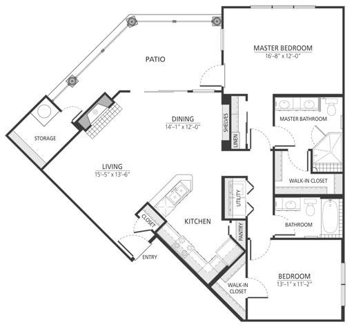 1,233 sq. ft. B2fp floor plan