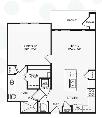 756 sq. ft. Everleigh/A7 floor plan