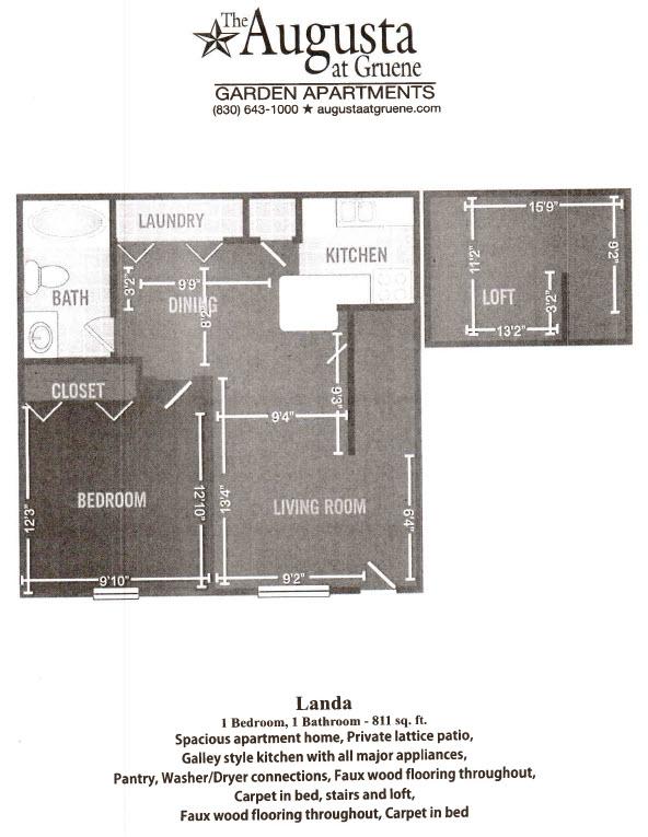 811 sq. ft. Landa floor plan