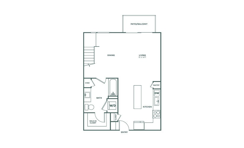 855 sq. ft. to 896 sq. ft. L1 floor plan