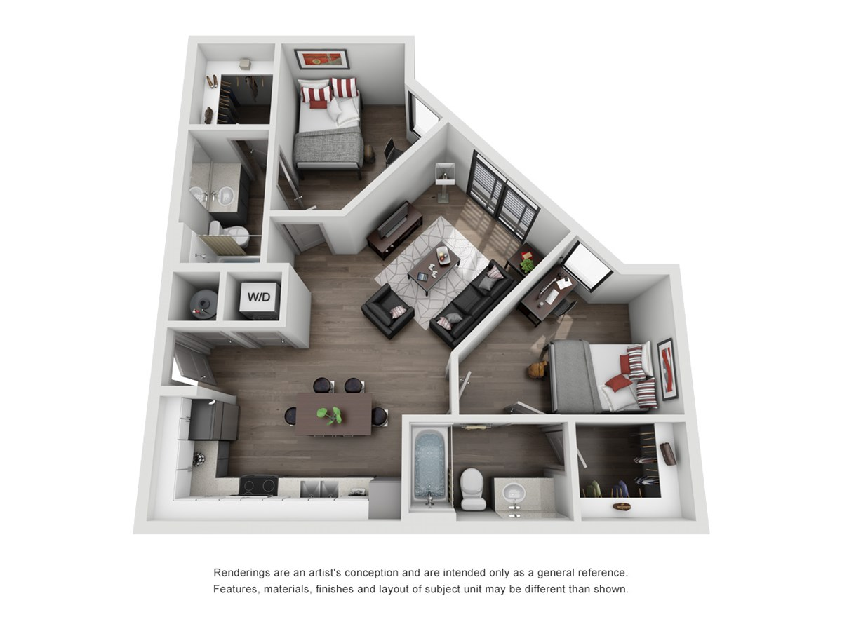 821 sq. ft. B2 floor plan