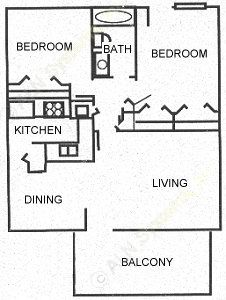 940 sq. ft. B1 floor plan