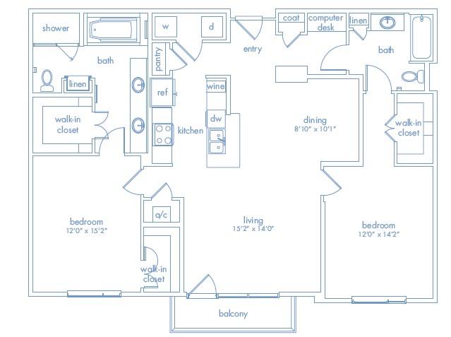1,443 sq. ft. Dali Three floor plan