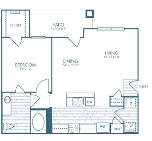 750 sq. ft. Doc Holiday floor plan