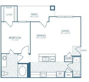 750 sq. ft. Doc Holiday floor plan