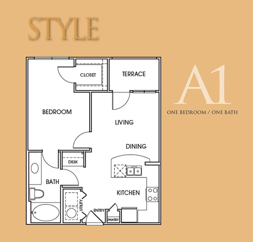 675 sq. ft. to 680 sq. ft. A1 floor plan