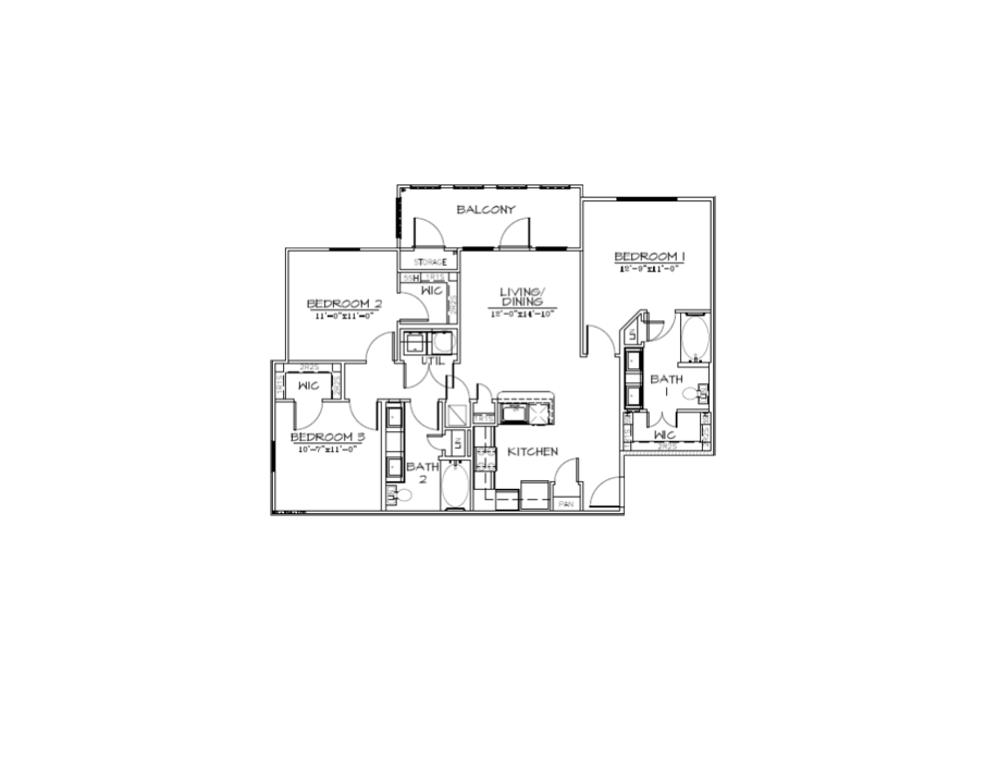 1,162 sq. ft. C1/50% floor plan