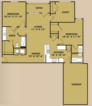 1,150 sq. ft. B2 Garage floor plan