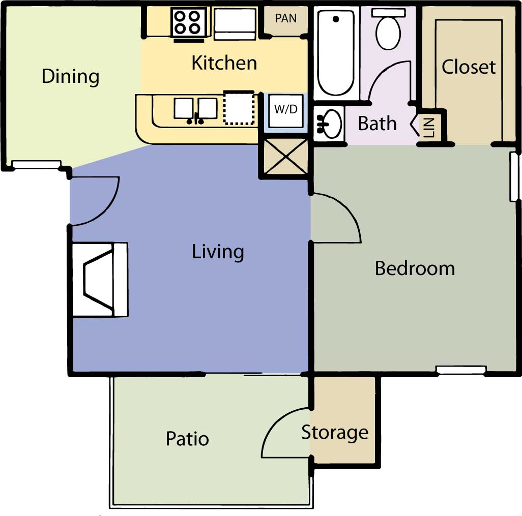 604 sq. ft. Cedar Elm floor plan