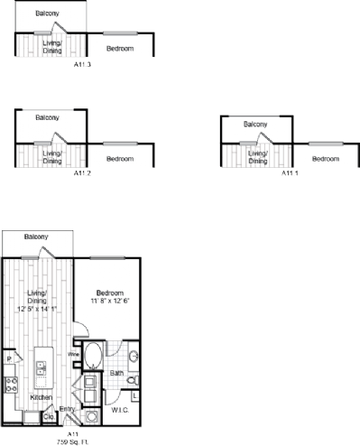 759 sq. ft. A11 floor plan