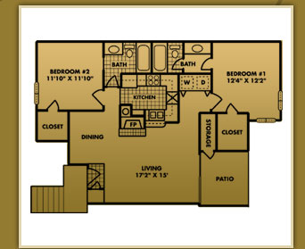 996 sq. ft. B-2 floor plan