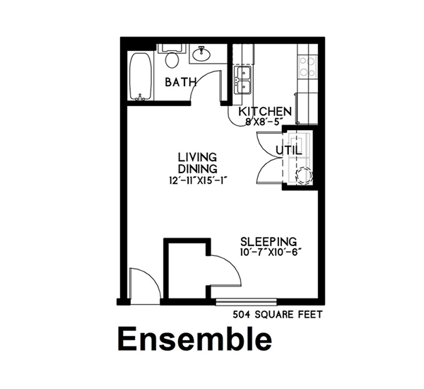 504 sq. ft. Ensemble floor plan
