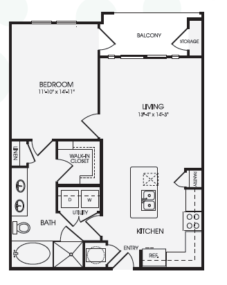 782 sq. ft. A8B floor plan