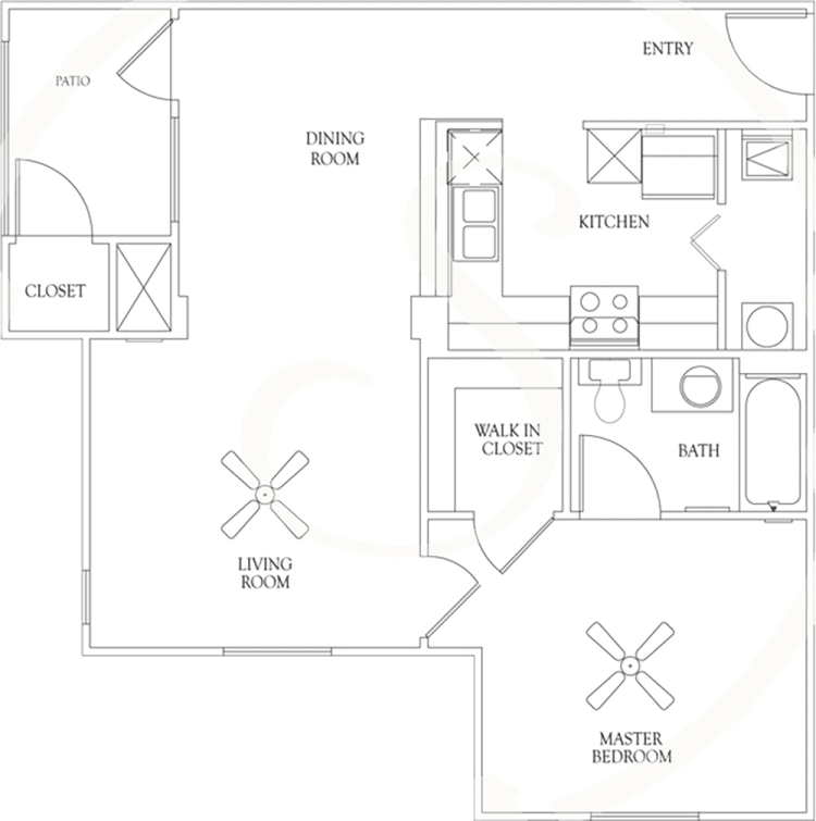 704 sq. ft. A3 60% floor plan