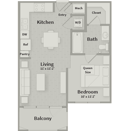 539 sq. ft. floor plan
