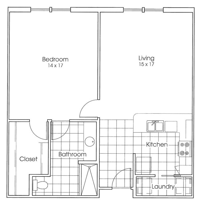 882 sq. ft. Bluebonnet floor plan