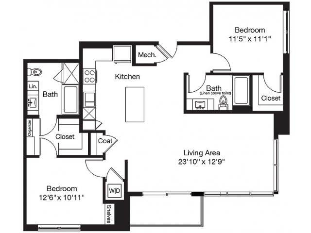 1,224 sq. ft. LA floor plan