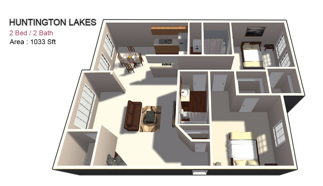 1,033 sq. ft. 2X2 floor plan