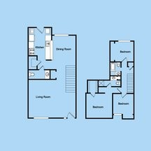 1,443 sq. ft. 3-2.5THS floor plan