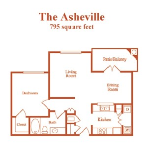 795 sq. ft. Asheville floor plan
