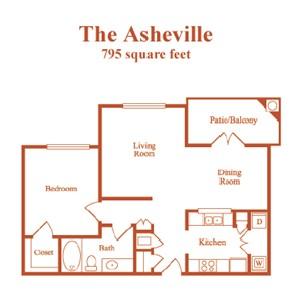 795 sq. ft. Asheville floor plan