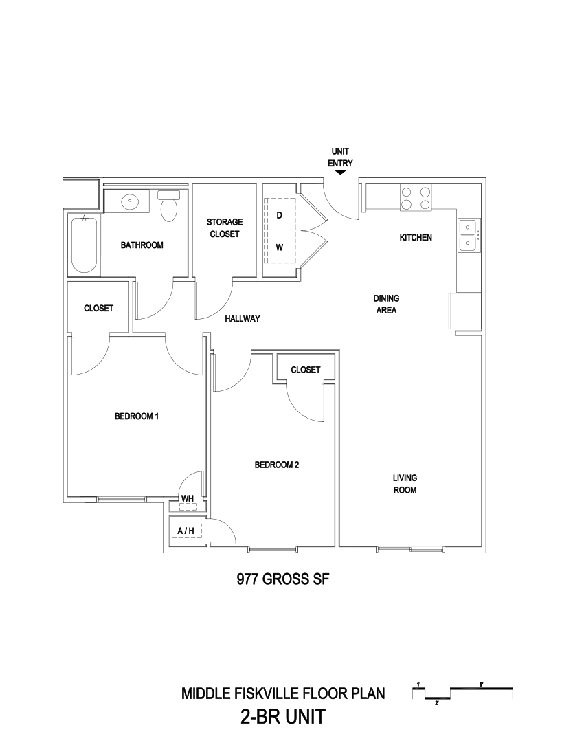 977 sq. ft. 60% floor plan