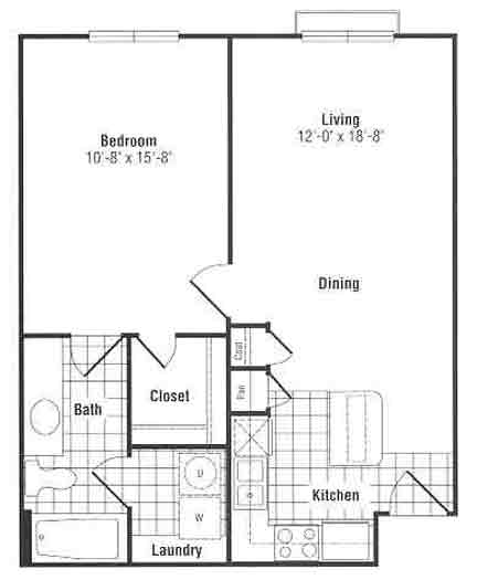 662 sq. ft. to 699 sq. ft. floor plan