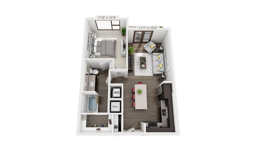 714 sq. ft. A3 floor plan