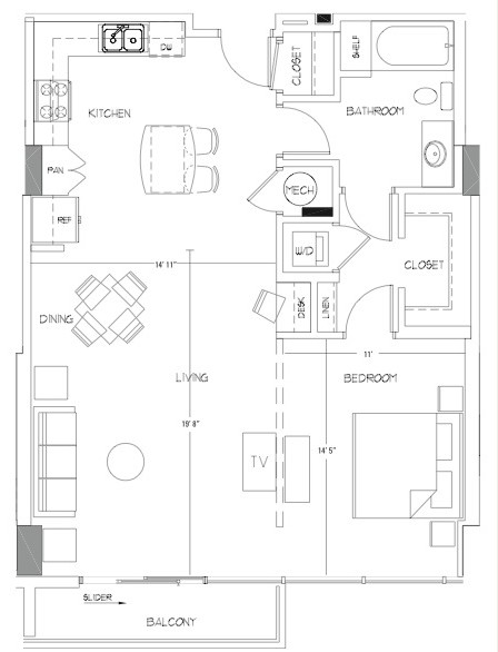 907 sq. ft. A9A floor plan