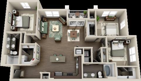 1,409 sq. ft. C1B floor plan