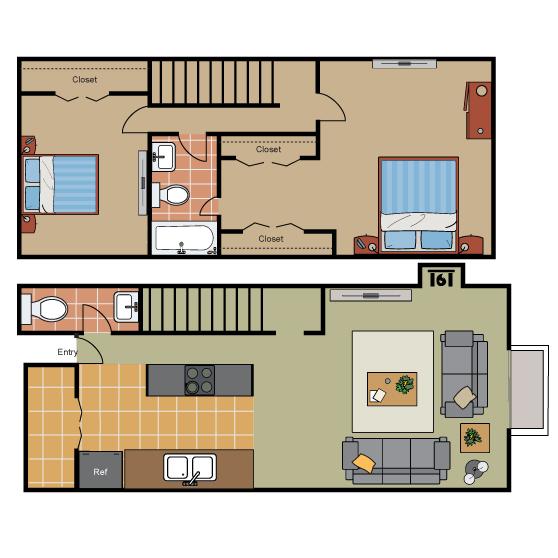1,181 sq. ft. B2 Ph II floor plan