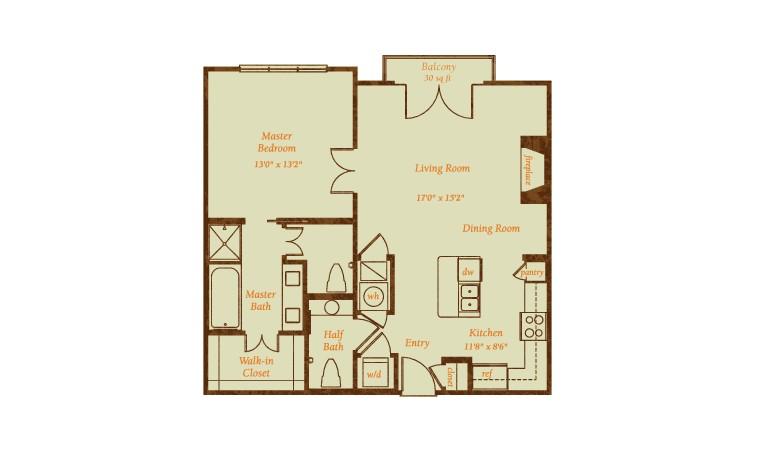915 sq. ft. Catalina floor plan